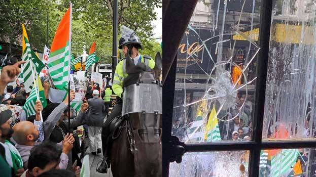 Indian embassy in London vandalised as protests over Kashmir